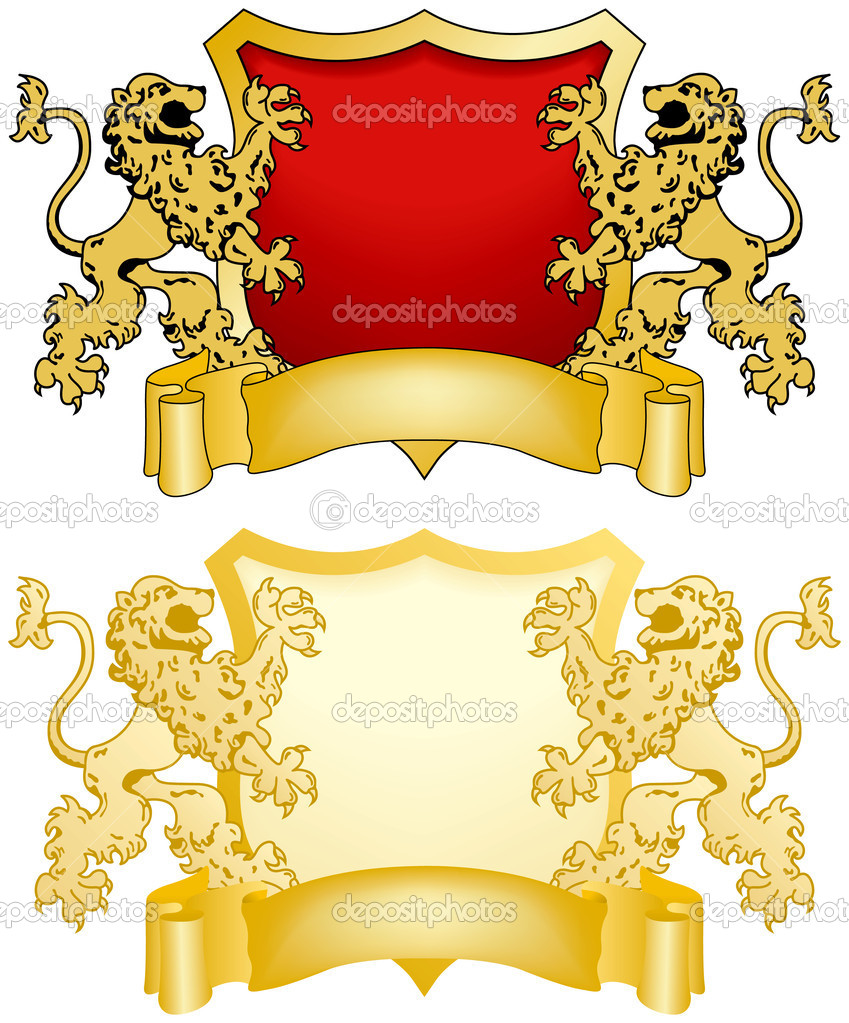 Shield and Banner with Lions, Two Variations — Stock Vector #8996266