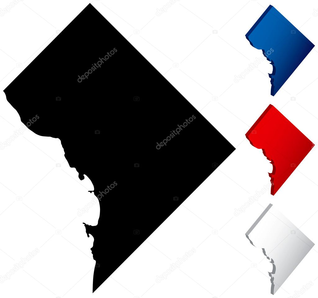 Washington DC Map  Stock Vector  Adroach - Washington dc map download