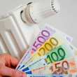 Radiator with money - Stok fotoğraf