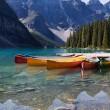 Stock Photo: Canoes on Moraine Lake