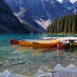 图库照片: Canoes on Moraine Lake