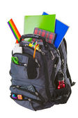 Okul malzemeleri ile sırt çantası — Stok fotoğraf