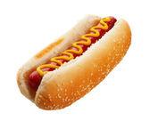 Hot dog met mosterd — Stockfoto