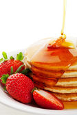 Syrup Pouring on Pancakes — Stockfoto