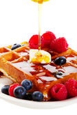 Syrup Pouring Over Waffles — Stock Photo