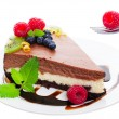 Triple Layer Chocolate Cheesecake — Foto Stock