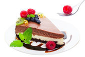 Triple Layer Chocolate Cheesecake — Stock Photo