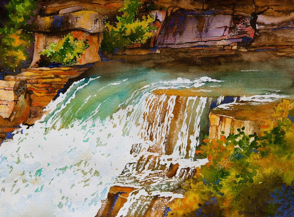 An original watercolor painting of a waterfall landscape, near Markham, Ontario, Canada — Stock Photo #8949444