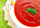 Soup and Crackers — Stockfoto
