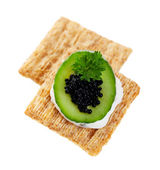 Cool Cucumber and Caviar Cracker — 图库照片