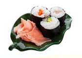 Sushi and Ginger on a Leaf — Stock Photo