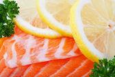 Salmon With Lemon Slices — Stock Photo
