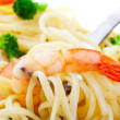 Shrimp Linguini Macro — Stock Photo