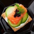 Caviar and Salmon Canape - Stock Photo