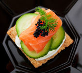 Caviar and Salmon Canape — Stock Photo