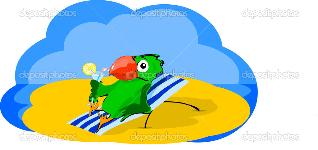 Happy green parrot resting and sunbathe on the sandy beach, lying on a folding chair in the sun. Bird holds a cocktail glass and drink. He was on vacation. — Stock Vector #8854650