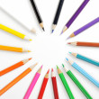 Close up of color pencils with different color over white backgr — Stock Photo