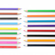 Close up of color pencils with different color over white backgr - Stock Photo