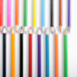 Color pencils in blur on white background - Stock Photo
