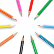 Stock Photo: Circle of colored pencils