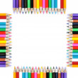 Frame of colored pencils isolated on white background - Stock Photo