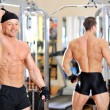 Bodybuilder posing behind another bodybuilder in the gym — Stock Photo #10197090