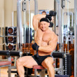 Young bodybuilder training in the gym - dumbbell alternate trice — Stock Photo