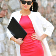 Beautiful businesswoman outdoors — Stock Photo