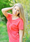 Portrait of happy cheerful smiling young beautiful blond woman, — Stock Photo
