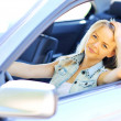 Young beautiful woman in her new car - Closeup — Stock Photo