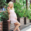 Beautiful pregnant girl - Full length portrait outdoors — Stock Photo