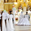 Stock Photo: Beautiful flower wedding decoration in church