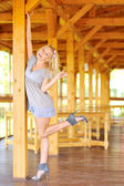 Young lady posing near the wooden structure — Stock Photo