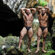 Stock Photo: Two bodybuilders posing