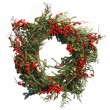 Постер, плакат: Christmas Evergreen and Holly Berry Wreath Isolated on White