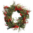 Christmas Evergreen and Holly Berry Wreath Isolated on White — Stock Photo #8903127
