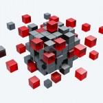 modelo 3d de cubos construção isolada — Fotografia Stock  #8901479
