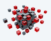 Cubes construction isolated 3d model — Stock Photo