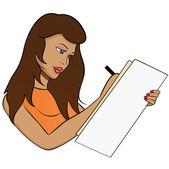 Brunette student girl studying — Stock Vector