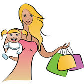 Monther and child todler shopping — Stock Vector