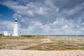 White lighthouse, Hurst point, Hampshire, England — Stock Photo