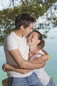 Young man and girl necking — Stock Photo