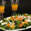 Healthy food- salmon and vegetable with orange carrot juice — Stock Photo
