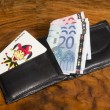 Euros with joker card in black leather wallet, on vintage brown background - Stock Photo