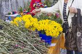 Picking flowers on market — Stock Photo