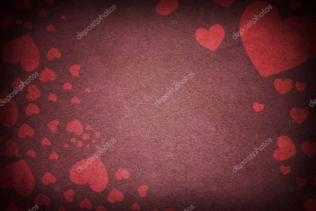 Red grunge texture printed with hearts — Stock Photo #8976843