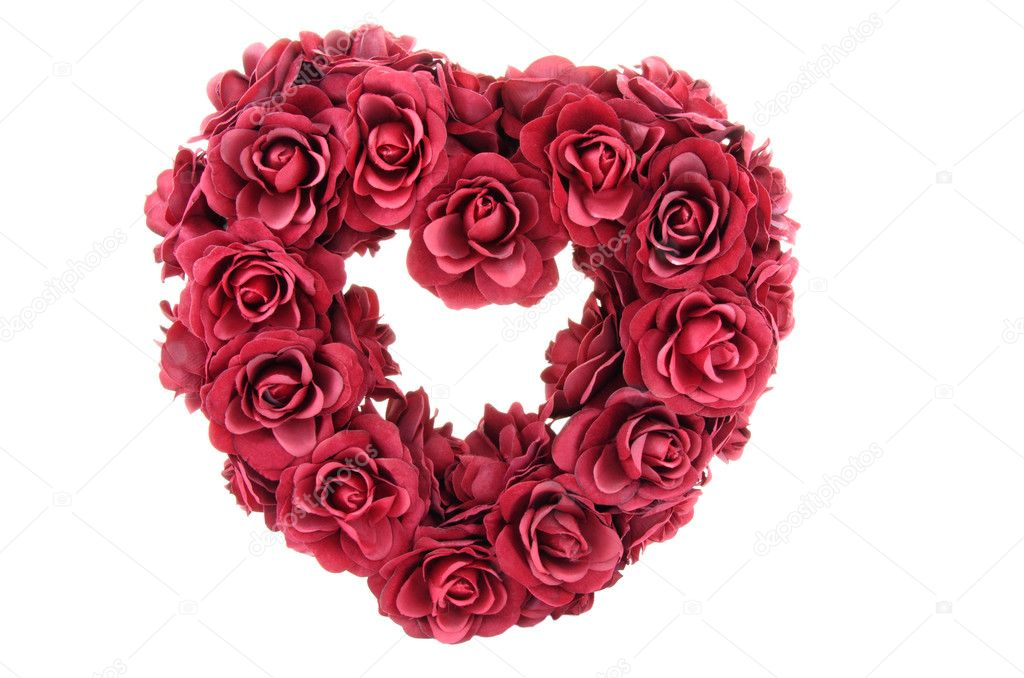 Valentine heart shape made from red roses. — Stock Photo #10469945