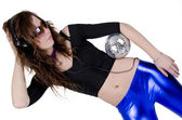 Young woman with disco ball (2) — Foto Stock