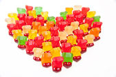 Heart of gummy bears — Stock Photo