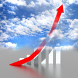 Business graph with going up red arrow — Stock Photo
